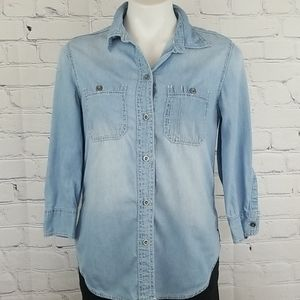 Seven 7 100%cotton long sleeve button down top